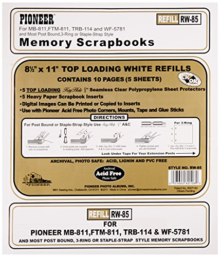 pioneer-photo-albums-rw85-85-x-11-white-top-loading-scrapbook-refill-pages