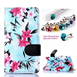 CocoZ® Samsung Galaxy Note 4 Hawaiian Flowers Beautiful PU Leather Wallet Type Flip Case Cover with Credit Card Holder Slots for Samsung Galaxy Note 4 Inch Release on 2014 (Sky Blue with Hawaiian Flowers Pattern Design)