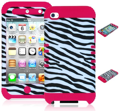 Bastex Heavy Duty Hybrid Case For Touch 4, 4Th Generation Ipod Touch - Pink Silicone / Black & White Zebra Animal Print Hard Shell front-460780