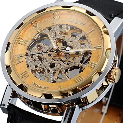 Happy Hours® New Fashion Round Face Gold Steampunk Skeleton Mechanical Transparent Clear Dial Silver Stainless Steel Boys' / Men's Sport Leather Band Wrist Watch