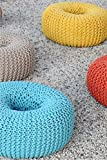 Artisanto Hand Knitted Pouf / Stool -YELLOW