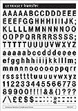 Letraset Rubdown Lettering Transfer A5 Sheet including burnisher - Helvetica MC - 10mm - Black