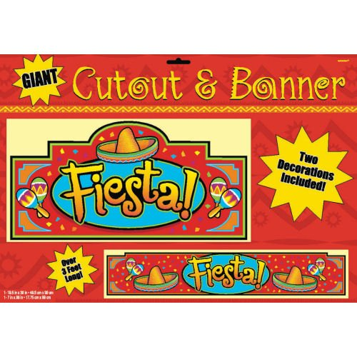 Fiesta Cutout and Banner Decorations 2pc - 1