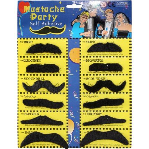 Thematys 12BÄRTESCHWARZ - Bart - Verschiedene Schnurrbärte auf Bartkarte, selbstklebend, 12 Stück