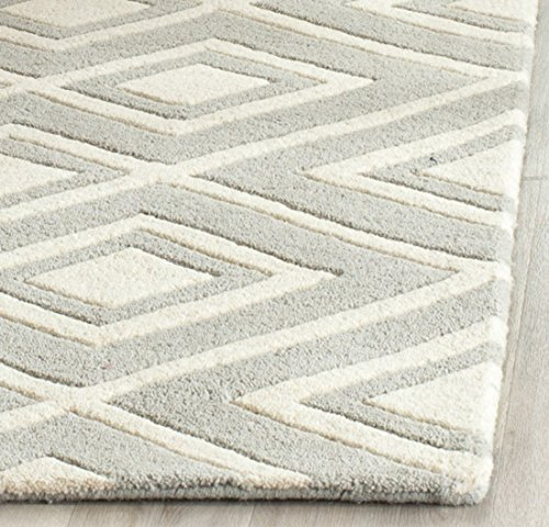 Safavieh Chatham Collection CHT742E Handmade Grey and Ivory Wool Area Rug, 3 feet by 5 feet (3' x 5')
