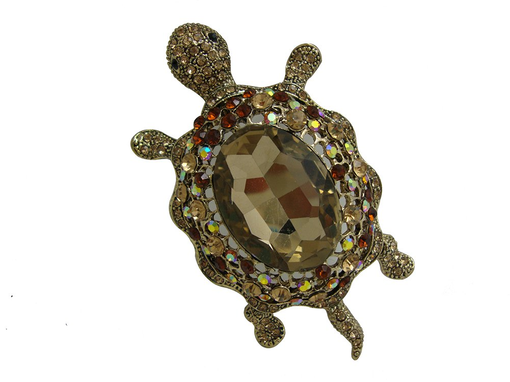 TTjewelry Vintage Style Tortoise Crystal Brooch Turtle Rhinestone Pin Classic Woman Animal Decorative Jewelry 0