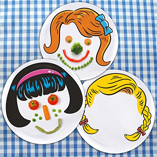 Dinner Do's Kids Dinnerware Plates Food Faces-Set of 3-Girl's Style