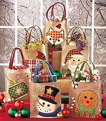 Burlap Christmas Gift Bags Set of Six 7-1/2 W X 3 D X 8 H