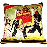 Aaiye Ghar Sajaiye Paper Satin Cushion Cover With Digitalise Peacock- Set Of 5, Multi _(16 X 16 Inch) - B016APIWLM