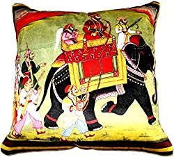 Aaiye Ghar Sajaiye Paper Satin Cushion Cover with ROYAL PROCESSION - Set of 5, Multi _(16 x 16 Inch)