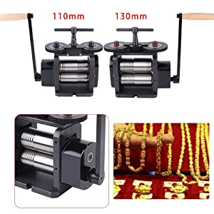TFCFL Manual Combination Rolling Mill Machine110mm/130mm Wide 55mm/65mm Diameter Rollers, Maximum 4/5 mm Opening Jewelry DIY Tool Making Machine (130MM)