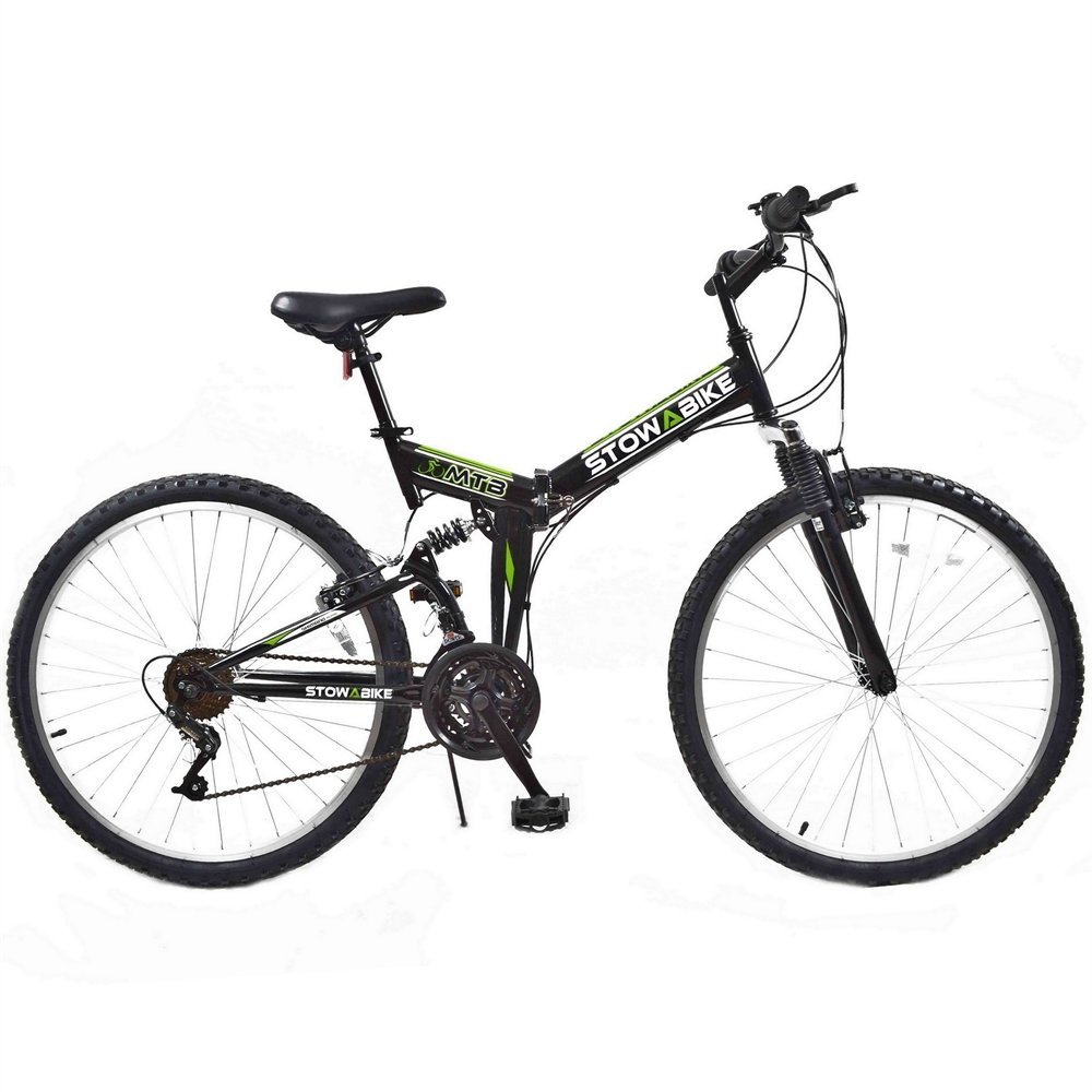 Stowabike 26″ Folding Dual Suspension Mountain Bike 18 Speed Shimano Bicycle Review 1