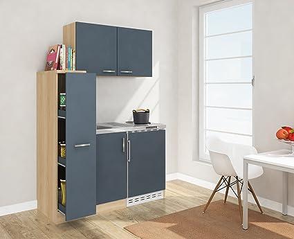 Respekta Mini Kitchen with MK 130130cm Including Wall Cabinet Imitation Rough Sawn Oak Front Grey Esgos