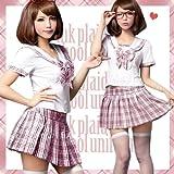 セーラー服 制服 女子高校生 コスプレ AKB48 衣装 ランジェリー コスチューム ピンク チェック C113
