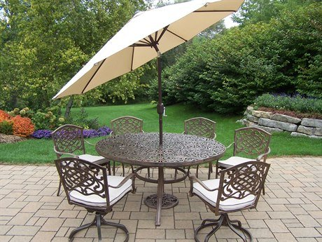oakland living mississippi 9 piece antique bronze dining set with 60