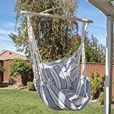 Luxury Blue Striped Hanging Cotton Pillow Hammock Chair Outdoor Swing Patio Yard