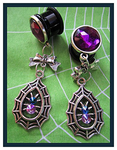 The Fancy Spider EAR PLUGS gothic dangle stretched earrings pick gauge size 2g, 0g, 00g, 7/16