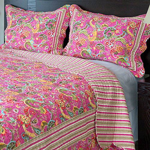 Lavish Home 3-Piece Paisley Quilt Set, Full/Queen back-606847