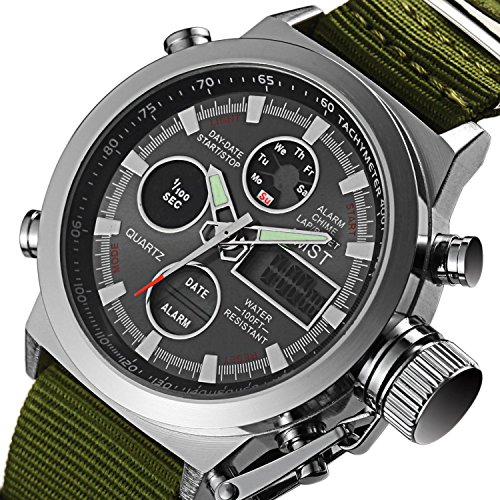 AMST lusso Mens Sport Watch tre sei pin Calendario Banda tessuto dell'orologio militare impermeabile