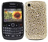 ITALKonline PREMIUM FunkGem GOLD DOTS GEMS Diamonte Crystals Back Protective Armour/Case/Skin/Cover/Shell with Screen Protector and MicroFibre Cleaning Cloth for BlackBerry 8520 Curve, 9300 3G