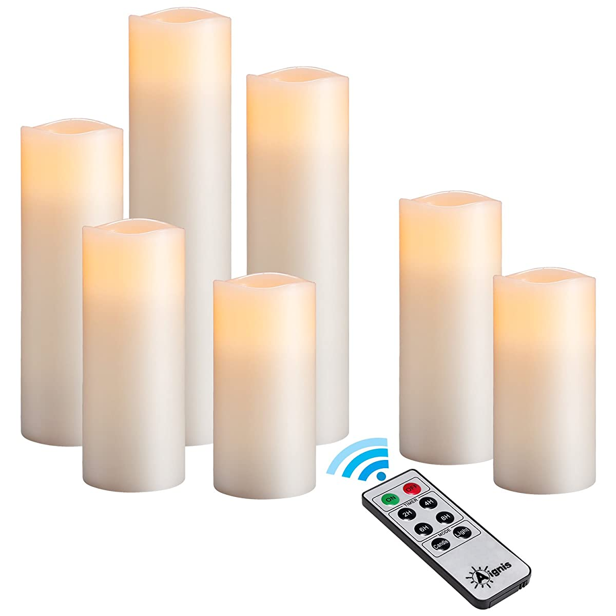 """Flameless Candles, Battery Candles Set of 9(H4""""5""""6""""7""""8""""9"""" x D2.2"""") Real Wax Ivory Pillars Candles With 10-key Remote Timer By Aignis"""