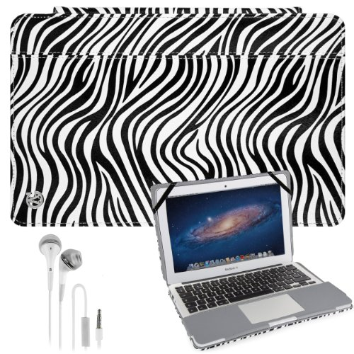 Vangoddy Laptop Mary - Pro City Book Portfolio Cover Case Black White Zebra Fits Apple Macbook Air 11 Inch + White Hands-Free Earphones Headphones W/ Microphone