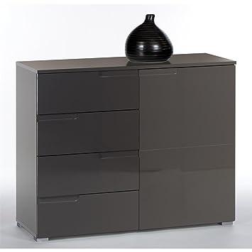 Kommode Sideboard MONA 100 cm breit, in grau mit Hochglanzfronten, Schubladen und Tur