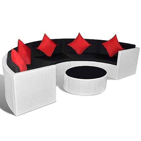 Poly Rattan Gartenmöbel Lounge Set halbrund weiß