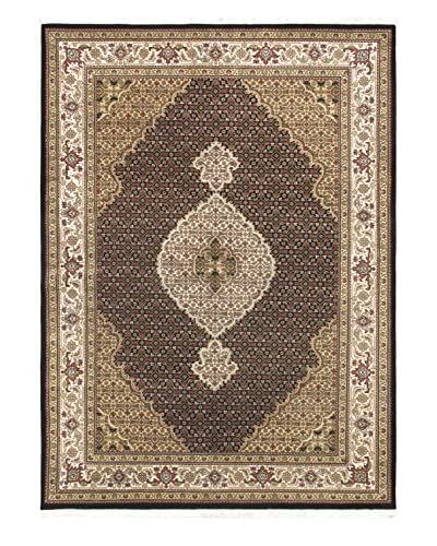 Hand-Knotted Tabriz Haj Jalili Wool & Silk Rug, Black/Cream, 5' 8 x 7' 9