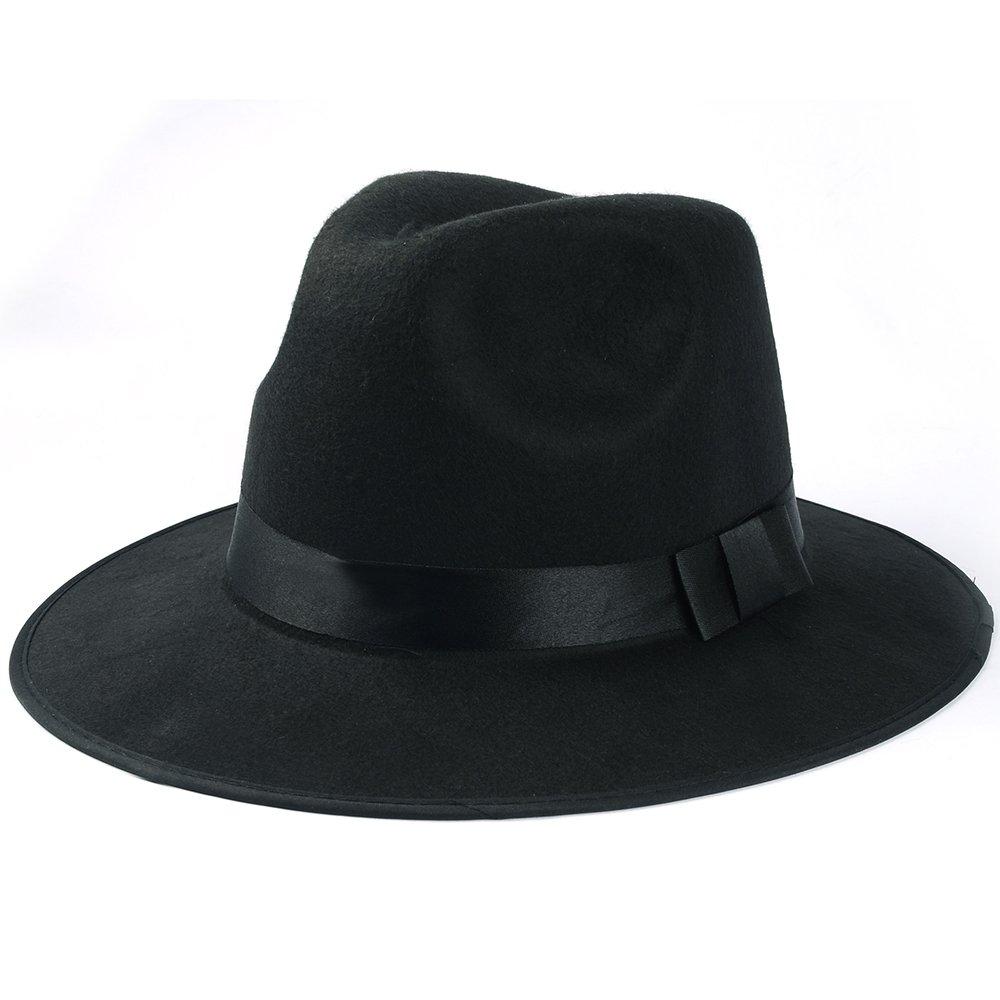 Medium Vintage Style Men's Hard Felt Wide Brim Fedora Trilby Panama Hat 2