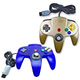 Pomilan 2 Packs Classic Retro Wired Controllers For Nintendo 64 (Gold and Clear Blue) (Color: Gold and Clear Blue)