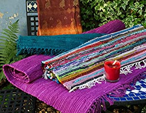 Fair Trade Hand Loomed Recycled Cotton Red Stripe Rag Rug 75cm x 135cm