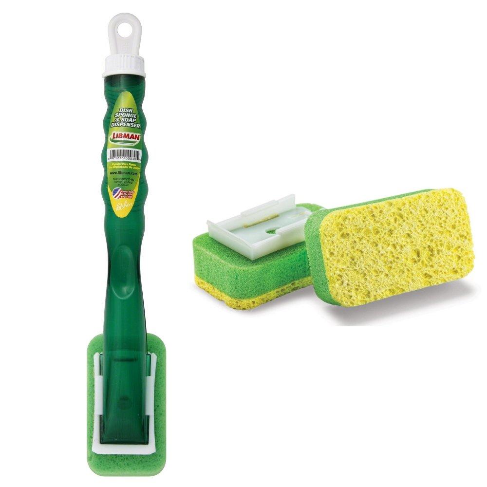 Libman Dish Sponge Bundle - 2 Items: 1 Dish Sponge and Soap Dispenser Combo, and 1 Package of 2 Dish Cleaning Sponge Refills скребок libman для окон длина 30 см
