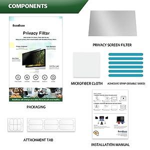 (BOZABOZA) 23 Wide Privacy Screen Filter [Anti-Blue Ray] [Anti-Glare] [Anti-Scratch] [Matte or Gloss] Privacy Protector for Laptop, Notebook, LCD, Monitor, Display (16 : 10 Aspect Ratio) (Color: Transparent, Tamaño: 23 Wide Screen (16 : 10))