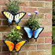 Great Ideas Butterfly Wall Planters - Set of 3 - Flower Pots For Potted Plants, Herbs, Mountable Exterior Garden Decorations