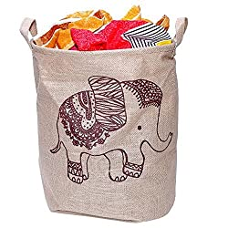 OutMad Cotton Linen Large Folding Laundry Storage Basket Hampers for Dirty Clothes Kids Storage Bucket Boxes Bins Organizer Tote Bag for Baby Accessories Toys with Handles