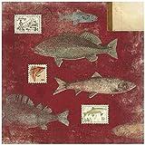 Karen Foster Design Scrapbooking Paper, 25 Sheets, Red Fish Stamps, 12 x 12
