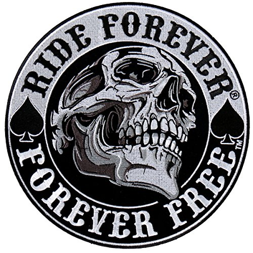 Hot Leathers Spade Skull Ride Forever Forever Free Patch 3.5 inch