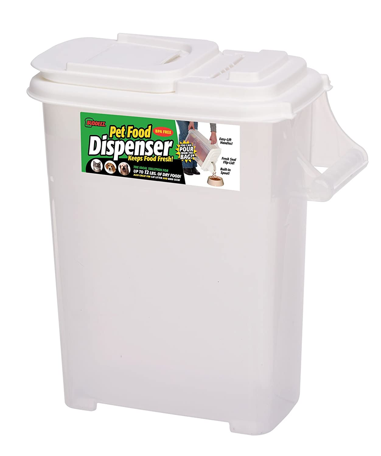 Buddeez 16 quart pouring dispenser for pet food and bird for Bird food holder