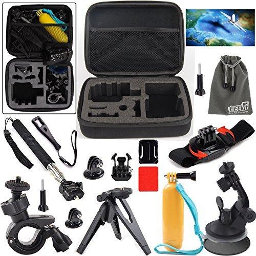 EEEKit 8 Items Travel Kit for GoPro HERO 5 4 3 Session SJCAM SJ4000/5000,Bag Case,Grip Pole and Car/Handheld Monopod/Bike Handlebar/Wrist/Tripod Mount