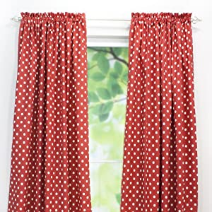 Chooty Rod Pocket Curtain Panel, 54 by 96-Inch, Ikat Dot Red
