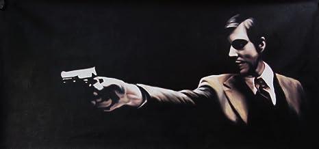 Diseño de El Padrino Art Michael Corleone de pintura al óleo 40 x 16 de arte pintado a mano, no es un Giclée, o Póster de cuadro. Este es un diseño de interpretación de clásico de arte. Pinceladas y la text