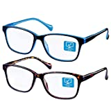 K KENZHOU Blue Light Blocking Computer Glasses 2 Pack Anti Eye Eyestrain Unisex(Men/Women) Glasses with Spring Hinges UV Protection Twilight and Blue (Color: Twilight and Blue)