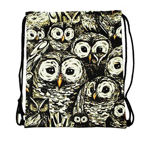 Niceeshop(Tm) Unisex Fashion Owl Print Casual Polyester Drawstring Backpack Bags