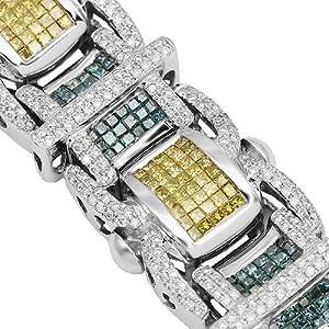 14K White Gold Mens Diamond Bracelet with Blue and Yellow Diamonds 15.07 Ctw