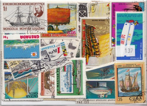 100 Ships stamps. All different. Worldwide.