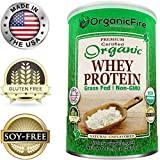 OrganicFire Best 100% Pure Organic Whey Protein Powder - Gluten Free NON GMO Grass Fed NO SUGAR - BCAA - Pre Post Workout - Build Lean Muscle Mass for Men - Natural Weight Loss for Women - Guaranteed
