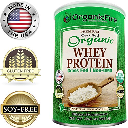 OrganicFire Best 100% Pure Organic Whey Protein Powder - Gluten Free NON GMO Grass Fed NO SUGAR - BCAA - Pre Post Workout - Build Lean Muscle Mass for Men - Natural Weight Loss for Women - Guaranteed (Whey Fuel Protein compare prices)