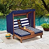 KidKraft Outdoor Double Chaise Lounge, Espresso/Navy/White