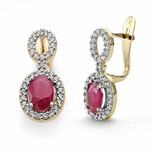 18k gold earrings 18mm long rubies and zircons. [AA2062]